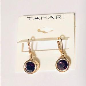 T Tahari Purple Faceted Stone Drop Earrings, NWT